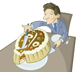 The big piece of a pie symbolizing success in business