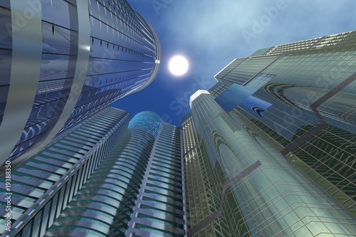 Three Sky-scrapers buildings directed to sun upwards