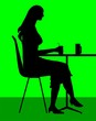 Illustration of silhouette of lady sitting in a cafeteria