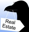 Illustration of real estate board in a bird's beak