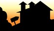 Illustration of silhouette of a house in a landscape
