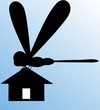Illustration of house lifting by silhouette of a dragon fly