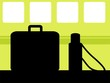 Illustration of silhouette of suitcase and flask