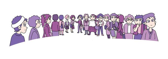 行列する群衆04-婦人
