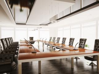 Konferenzzimmer mit schwarzen Sesseln 3d