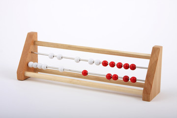 counting frame with red and white beads