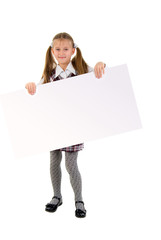 Little Girl With Message Board. Studio Shoot Over  White Backgro