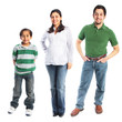 Family of three dressed in casual clothes isolated
