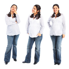 Young pregnant woman standing three full body poses isolated