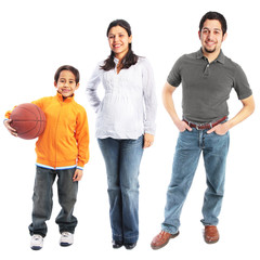 Small family of three full body portrait isolated