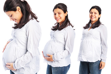 Pregnant woman three different poses