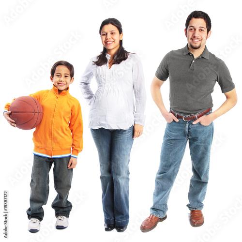 Small family of three full body portrait isolated