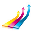 Vector Onwards & Upwards Arrows - 3D Glossy Icon
