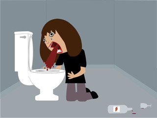 Drunk woman vomiting