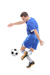 Football player with ball isolated against white