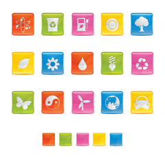 Glossy Square Icons - Ecology