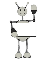 Robot holds blank advertisement sign smiles and waves
