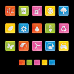 Glossy Square Icons - Ecology in Black