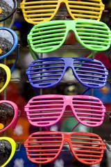 plastic sunglasses in shop