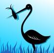 Illustration of a crane catching fish