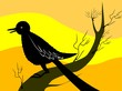 Illustration of a bird sitting on a branch of tree