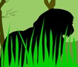 Illustration of a silhouette of lion in grass