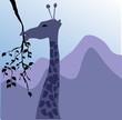 Illustration of a giraffe heading to eat leaf