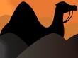 Illustration of silhouette of a camel in desert