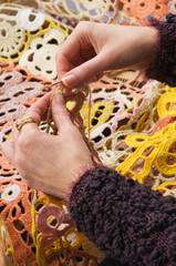 Knitting a hook.
