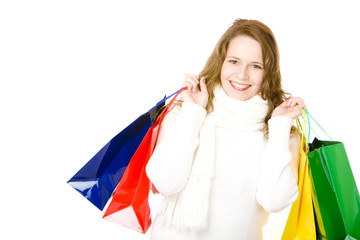 Young happy attractive smiling woman after shopping tour
