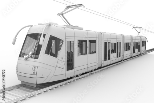 Tram - isolated on white