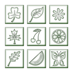 slips of  tree  and  flower in the manner   icons