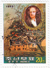 KOREA - CIRCA 1993 : Sir Isaac Newton - great English physicist,