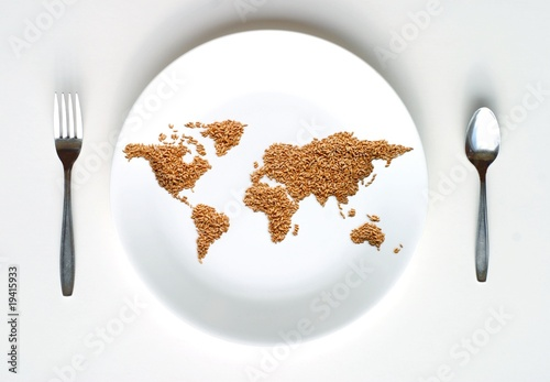 Fotobehang Aromatische World Map of Grain on Plate