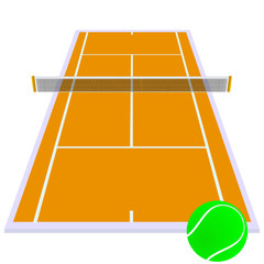 tennis court orange