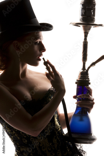 woman with hookah