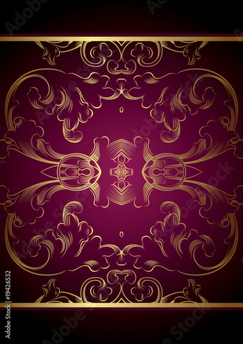 Purple Gold Floral Background