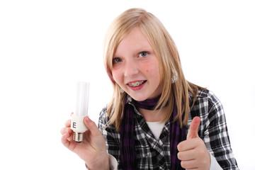Energiesparlampe Mädchen