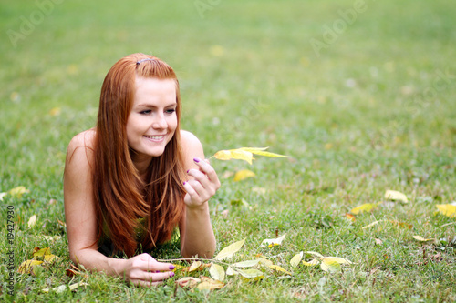 Beautiful young woman resting outdoor