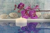 Fototapety Orchidee, Kerze, Wasser