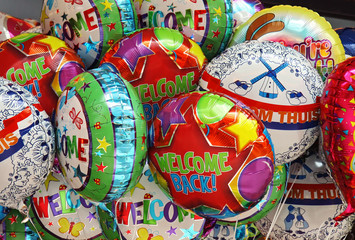 welcome balloons on airport