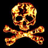 Fiery Skull and Crossbones poster