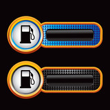gas icon blue and black checkered tabs poster
