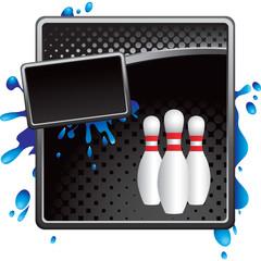 bowling pins black halftone grungy ad