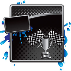checkered flags and trophy black halftone grungy ad