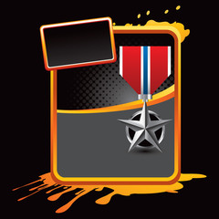 military medal orange grungy template