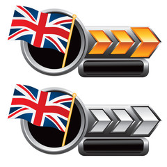 british flag gold and silver arrow nameplate banners