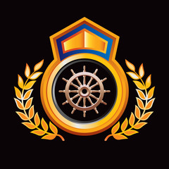 ship wheel orange and blue royal display