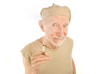 Senior Man with Ragged Shirt and Cigarette