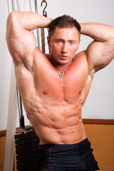 Bodybuilder posing in the gmy..